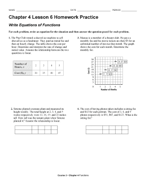 Fillable Online Chapter 4 Lesson 6 Homework Practice