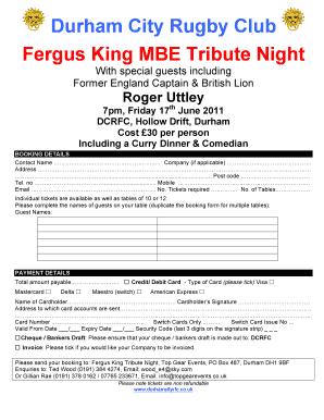 Fillable Online Fergus King Tribute Night Booking Form Pitchero