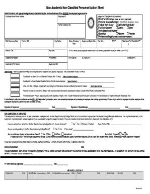 NonAcademic NonClassified Personnel Action Sheet