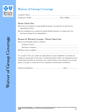 waiver of coverage health insurance - Edit, Fill Out ...