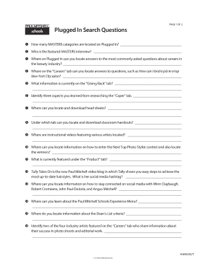plugged in paul mitchell Plugged In Paul Mitchell - Fill Online, Printable, Fillable, Blank ...