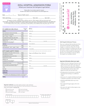 Fillable Online DOLL HOSPITAL ADMISSION FORM DOLL Where your ...