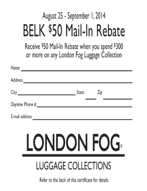 Fillable Online Belk 50 Mail In Rebate Fax Email Print