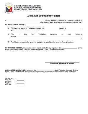 Charming Affidavit Of Loss