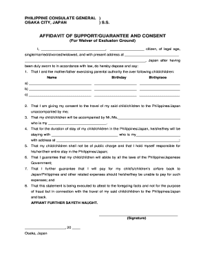 Fillable affidavit of support and consent to travel to japan edit affidavit of support and consent to travel to japan altavistaventures Choice Image