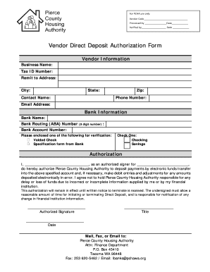 Vendor Direct Deposit Authorization Form - pchawaorg