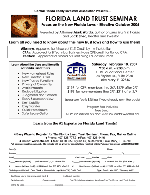 Fillable Online FLORIDA LAND TRUST CFRI FLYER RVSDdoc Fax Email ...
