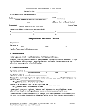 Printable texas divorce forms fill out download online blanks in answer texas divorce forms with children texas divorce forms with children answer solutioingenieria Choice Image