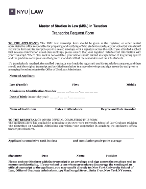 Fillable Online law nyu Transcript Request Form - NYU School of ...