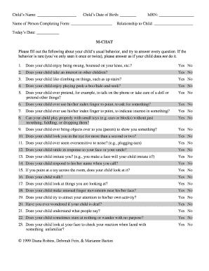 Fillable Online M-CHAT - bpiratepediatricscomb Fax Email Print ...