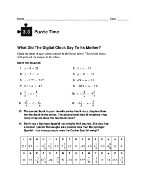 What Did The Digital Clock Say To Its Mother - Fill Online ...