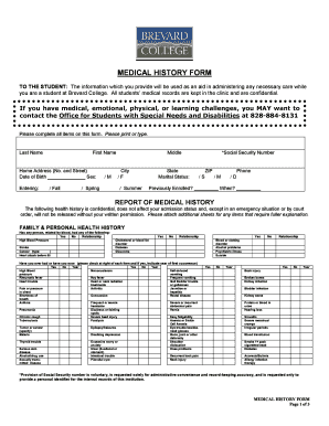 MEDICAL HISTORY FORM - ATHLETICSITECOM
