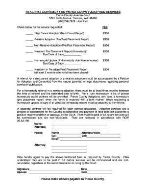 REFERRAL CONTRACT FOR PIERCE COUNTY ADOPTION SERVICES - piercecountywa