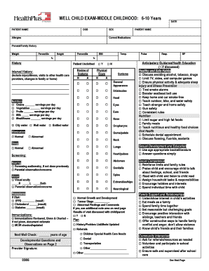 WELL CHILD EXAM-MIDDLE CHILDHOOD 6-10 Years DATE DOB SEX - healthplus