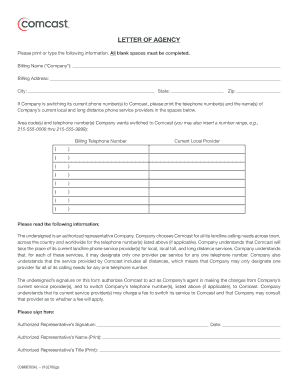 Fillable Online LETTER OF AGENCY - Comcast Business Fax