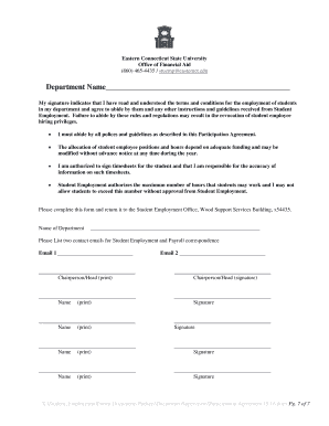 STUDENT EMPLOYMENT DEPARTMENT PARTICIPATION AGREEMENT - ecsujobs