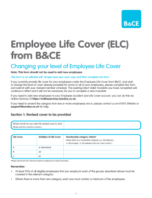 Employee Life Cover ELC From BampCE  Employee Details Form Sample