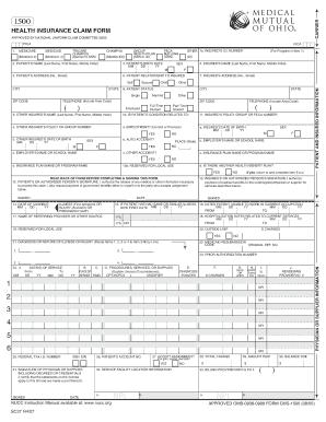 Printable health insurance claim form 1500 fillable - Edit ...