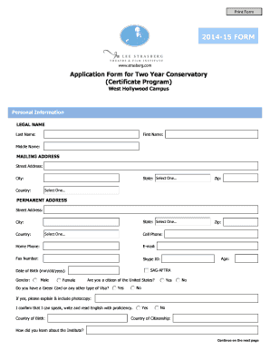 Application Form for 2 Year Conservatory. Adobe Designer Template