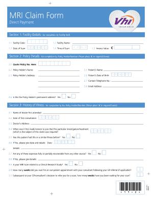Fillable Online MRI Claim Form - Vhi Fax Email Print - PDFfiller