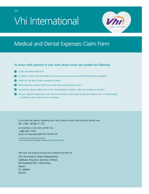 Fillable Online Vhi International Claim Form Fax Email Print ...