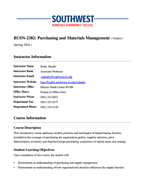 BUSN 2382 Purchasing and Materials Management - deit southwest tn