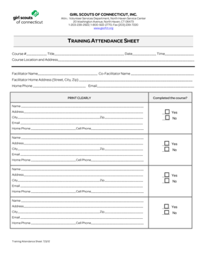 fillable online gsofct training attendance sheet girl scouts of