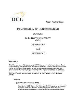 Fillable memorandum of understanding template joint venture edit insert partner logo dcu spiritdancerdesigns Image collections