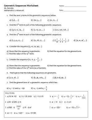 Fillable Online Geometric Sequences Worksheet - Royal St Georges ...