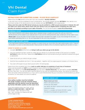Vhi Dental - Fill Online, Printable, Fillable, Blank | PDFfiller