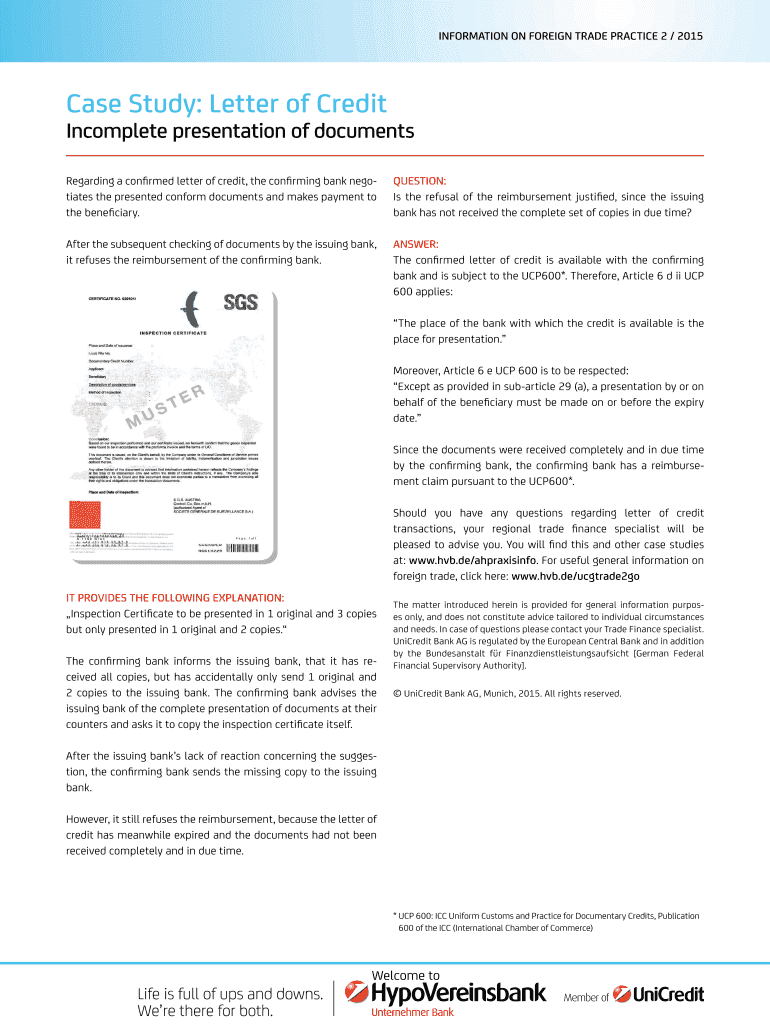 Case Study: Letter of Credit Fill Online, Printable
