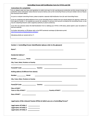 Fillable Online ALFI CRS DAC Template Self Certification Form ...