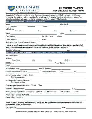F-1 student transfer sevis release request form - Coleman University - coleman