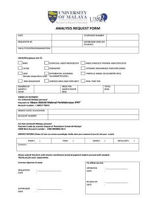 Fillable Online Umresearch Um Edu Analysis Request Form University Of Malaya Umresearch Um Edu Fax Email Print Pdffiller