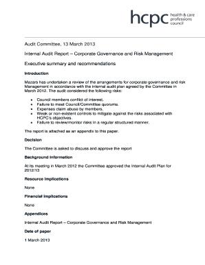 Fillable Online Internal Audit Report Corporate Governance