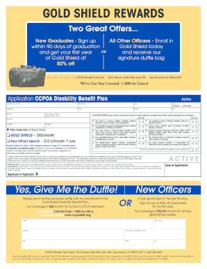Fillable Online ccpoabtf GOLD SHIELD REWARDS - CCPOA Benefit