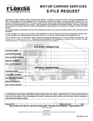 MOTOR CARRIER SERVICES E-FILE REQUEST Fill Online, Printable