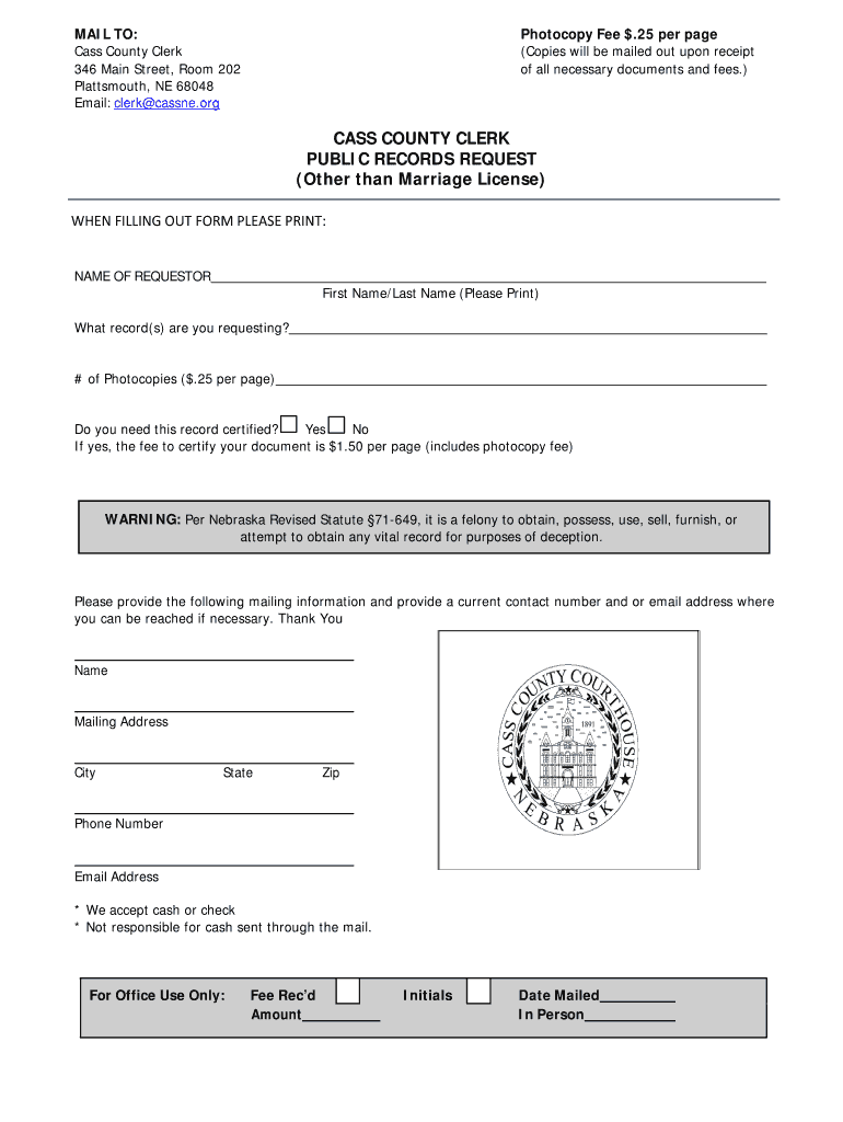 CASS COUNTY CLERK PUBLIC RECORDS REQUEST Other than Marriage