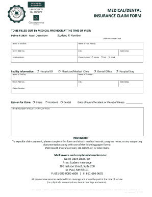 Printable sample 1500 claim form filled out - Edit, Fill ...