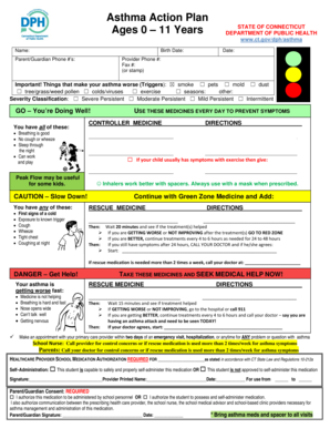 Fillable Online Asthma Action Plan Ages 0 11 Years
