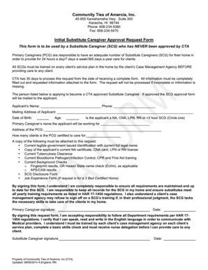 Fillable Online Initial Substitute Caregiver Approval Request Form ...