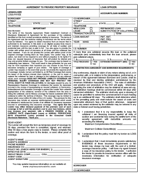 Agreement To Provide Property Insurance