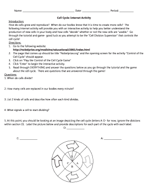 Cell Cycle Internet Activity Answer Key Fill Online Printable Fillable Blank Pdffiller