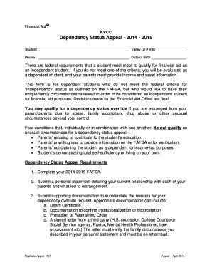 Fillable sample appeal letter format edit online print download kvcc dependency status appeal 2014 2015 spiritdancerdesigns Image collections