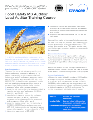 Fillable Online Food Safety MS Auditor Lead Auditor Training