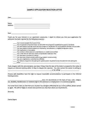 SAMPLE APPLICATION REJECTION LETTER - Housing Compliance