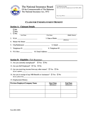 Pdf Filler Nib B80 Social Security Form Download Fill Online