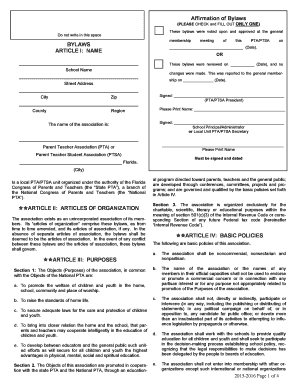 pta bylaws template - affirmation of bylaws please check and fill out only one