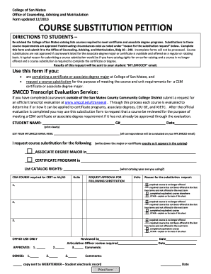 Fillable Online collegeofsanmateo COURSE SUBSTITUTION FORM ...