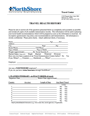 fillable online northshore travel health history form only
